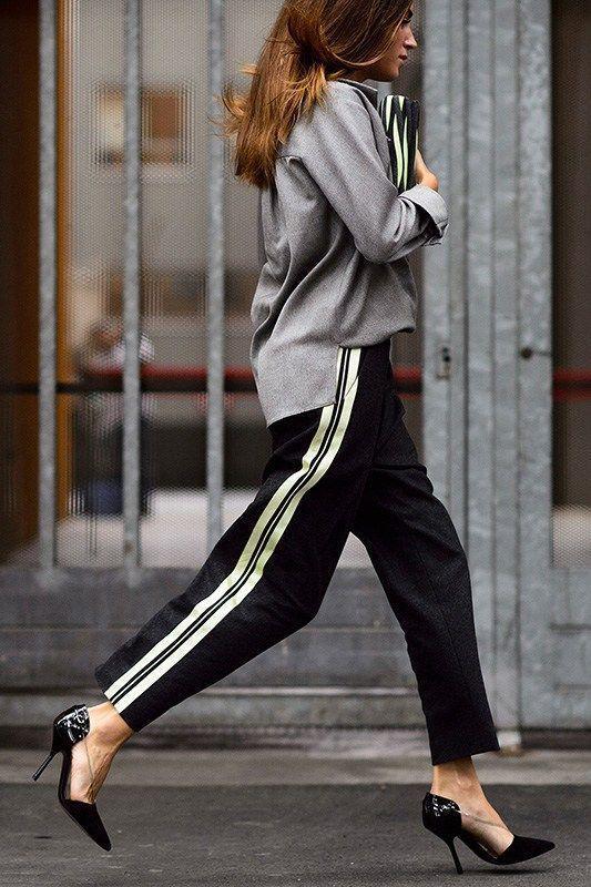 مدل شلوار گشاد با کفش پاشنه بلند